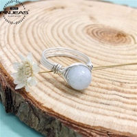 Silver Wire Wrapped Moonstone Ring 2pcs Handmade Sterling Silver Ring Fashion Unique Women Girl Gift Crystal