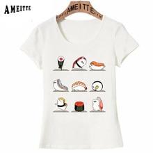 T-Shirt Summer Sushi Cute Kawaii Lovely Tees Ladies Tops Girl Japan-Style Cartoon Print