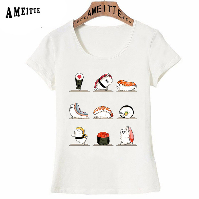 61613a6b6ea9 Japan Style Cute Kawaii Sushi Yo-ga Cartoon Print T-Shirt Summer Lovely Women  t-shirt Funny Casual Ladies Tops Fashion Girl Tees