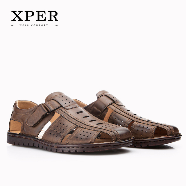 XPER Men Sandals Shoes Fretwork Breathable Shoes Style Retro Rome Gladiator Size 42~45