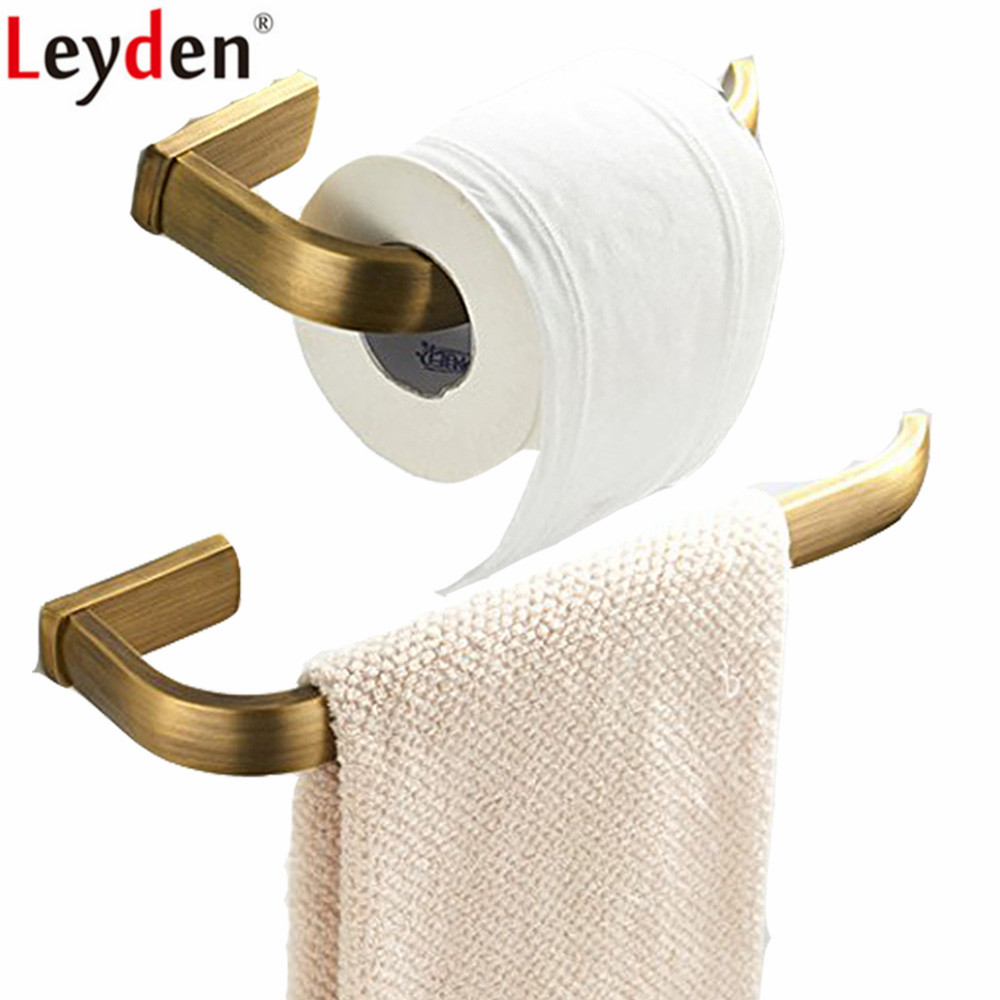 Leyden Antique Brass 2pcs Bathroom Accessories Set Wall Mounted Towel Ring Holder Lavatory Toilet Paper Tissue