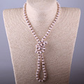 Free Shipping Fashion Bohemian Jewelry knotted long Halsband Blush Crystal Necklace