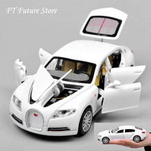 Aluminum Alloy 1:32 Bugatti Veyron 16C Diecast Pull Back Sports Car Model with Battery