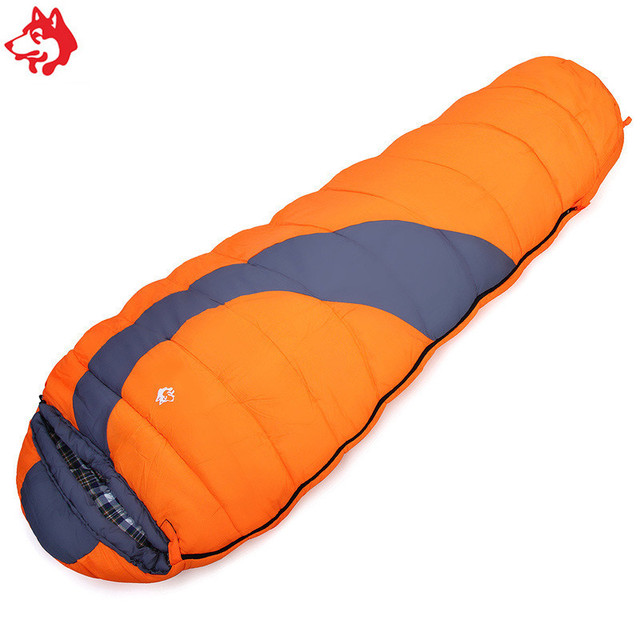 Yiwu cheap men & women lovers patterns hiking travelling camping splicing 1.65KG orange/blue cotton sleeping bag