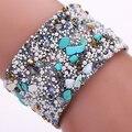 Women's Fashion Irregular Stone Bangle Colorful Beads Wide Band Bracelet Jewelry