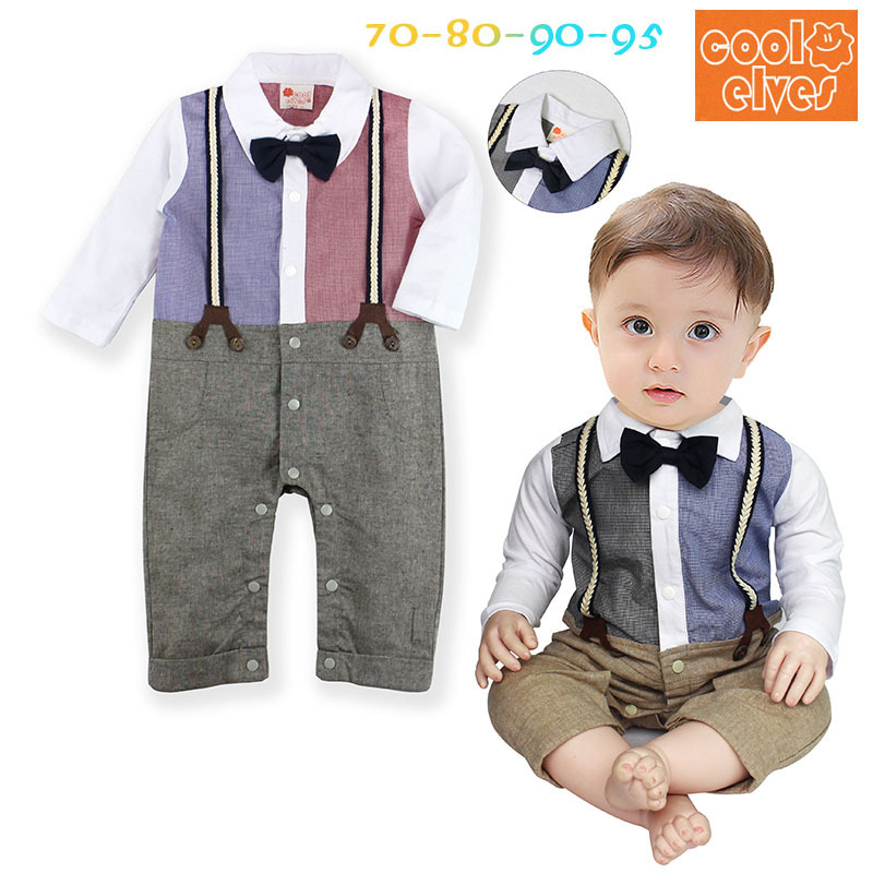Gentleman Suit Bow Baby Roupa Newborn Long Sleeve de bebe Costume Rompers One Pieces Clothes Kid's Infant Clothing Sets Jumpsuit cute minnie baby girl romper long sleeve baby clothes roupa infantil macacao ropa bebe jumpsuit baby rompers infant clothing