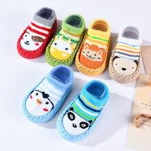 Детские носки-тапочки детские носки с героями мультфильмов подарок для малышей, детские домашние носки-тапочки толстые Нескользящие махровые носки с кожаной подошвой