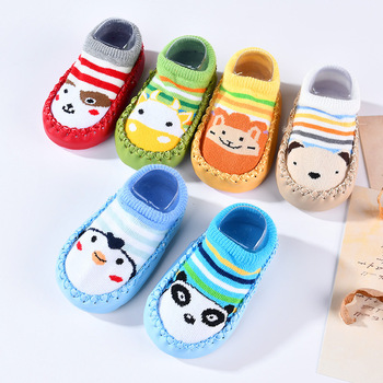 Baby Shoes Socks Children Infant Cartoon Socks Baby Gift Kids Indoor Floor Socks Leather Sole Non-Slip Thick Towel Socks