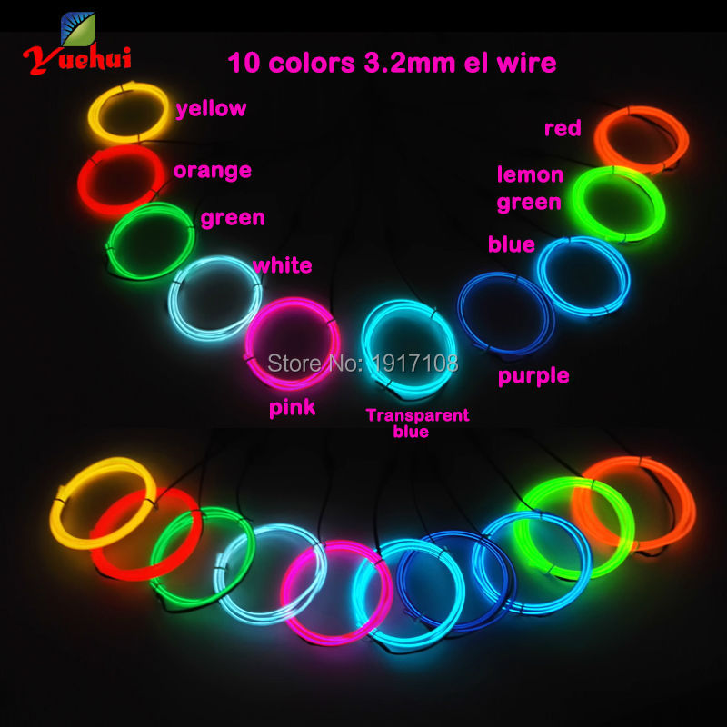 Hot 3.2mm 1Meter x 10pcs ten color flexible electroluminescent wire EL wire rope tube Led neon light rope For Wedding Decoration