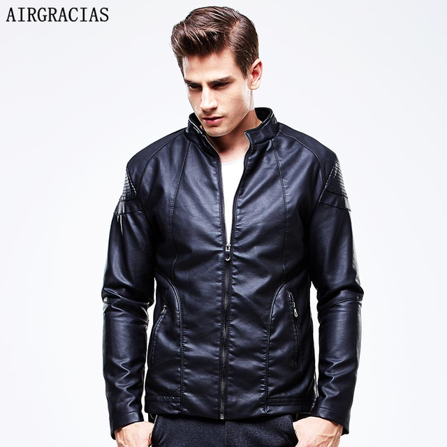 AIRGRACIAS Autumn Leather Jackets Mens Black Leather Jacket Slim Coats Male Leather Jackets Suit Collar Male Casual Overcoat