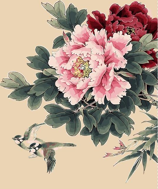 Peony Nice Flower Pigeon Picture Diy Digital Oil Painting Flowers Home Decor Wall Art Room
