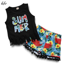 цена на Newborn Baby Girls Clothes Toddler Kids Summer Letter Print Tank Tops Vest + Floral Print Shorts Pants Outfits Set