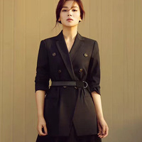 2019 Spring Liu Tao Star With Double Breasted Ol Commuter Temperament Black Suit Coat Suit Women Blazers And Jackets