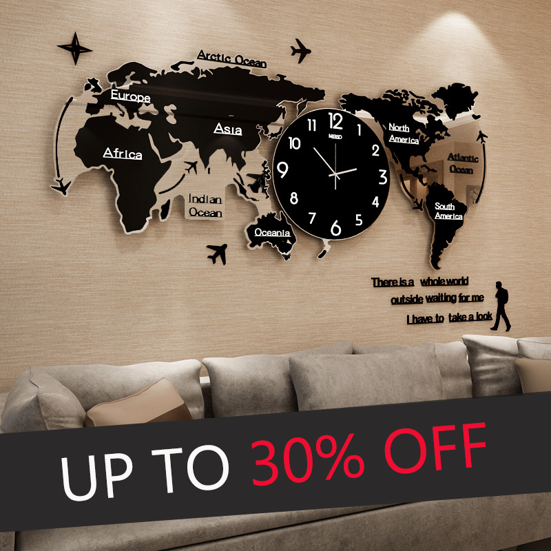 Wall-Clocks Watch Luminova World-Map Acrylic Digital Glow-In-Dark Modern-Design Large