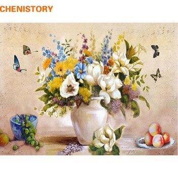 액자 꽃 나비 유화 벽 예술 현대 diy 그림 번호로 그림 거실 장식 독특한 선물