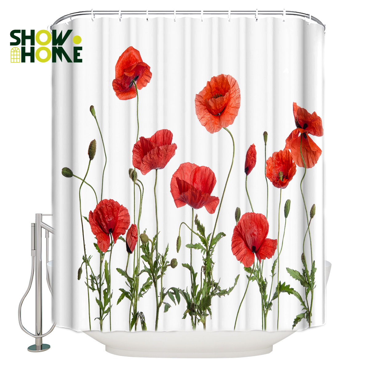 showhome shower curtain red corn poppy shower curtain bathroom decor