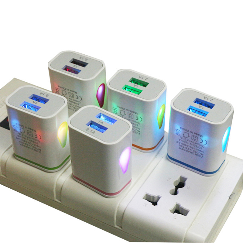 Power-Adapter Wall-Charger Usb-Ports Eu-Plug Water-Led-Light Auto-Fast-Charging iPhone