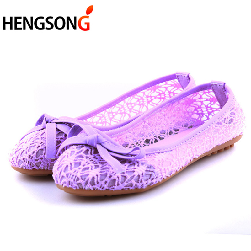 Women Flat Shoes 2018 New Summer Lace Shallow Mouth Shoes Woman Breathable Sandals Lace Mesh Ballet Flats Cute Clogs Shoes Bow odetina fashion ladies summer shoes ballet flats women flat slip on ballerinas patent leather shallow mouth shoes big size 32 52