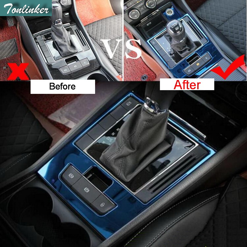 Tonlinker 2 Pcs DIY Car Styling stainless steel Gear position Decorative panel Cover Case Stickers For SKODA SUPERB 2016-17 decorative modification full body garland high performance sports car stickers case for mg6
