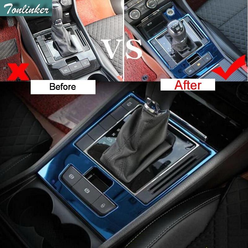 Tonlinker 2 Pcs DIY font b Car b font Styling stainless steel Gear position Decorative panel