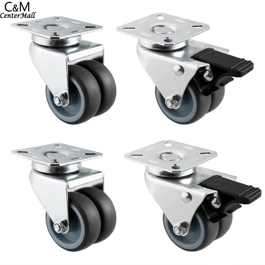цена на Swivel Twin 2 Pack Wheel Plate Chair Lock Office Top Caster Kit Swivel Inch 4 with