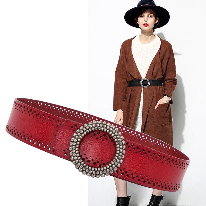 Nouvelle ceinture Cummerbunds ceinture en cuir pour femme ceinture en cuir pur ceinture large en cuir robe taille denim décoration femme.