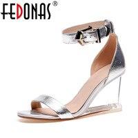 FEDONAS Fashion Genuine Leather Women Sandals Bohemian Crystal Heels Wedding Party Shoes Woman Summer Purple Silver