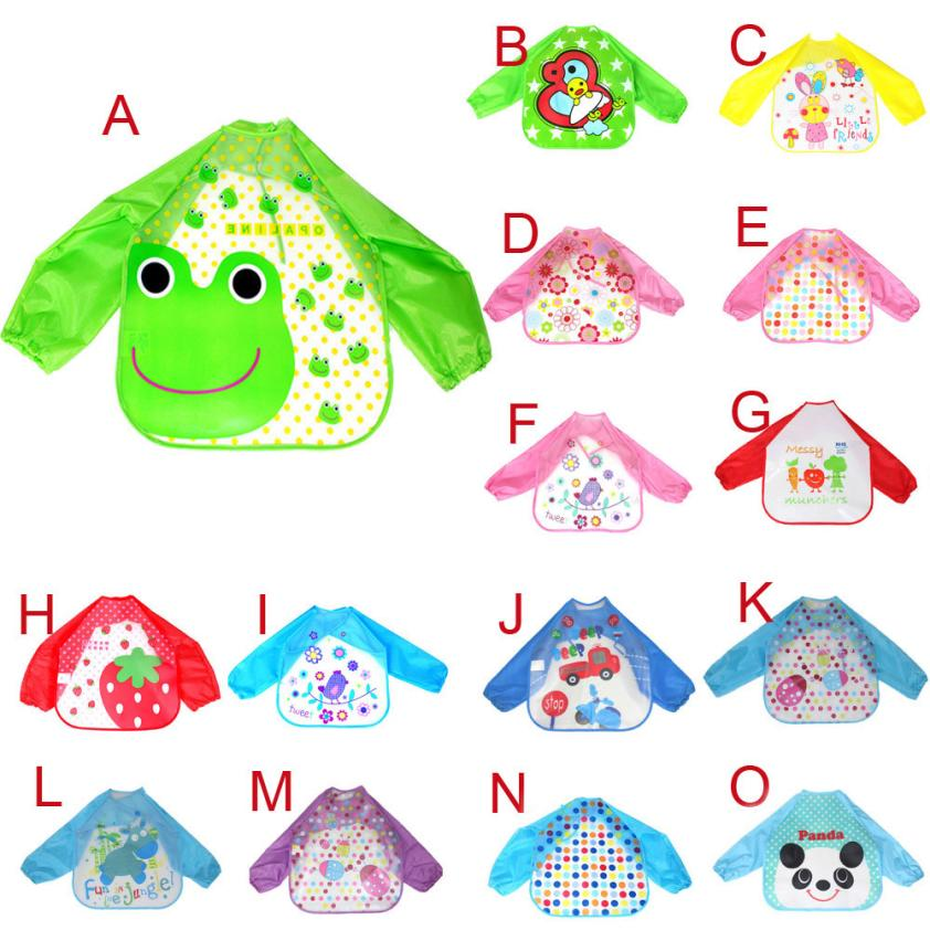CHAMSGEND colorful style Baby Toddler Kids Boys Girls EVA Long Sleeve Character Waterproof Feeding Art Apron Bib Smock Q30 AUG30