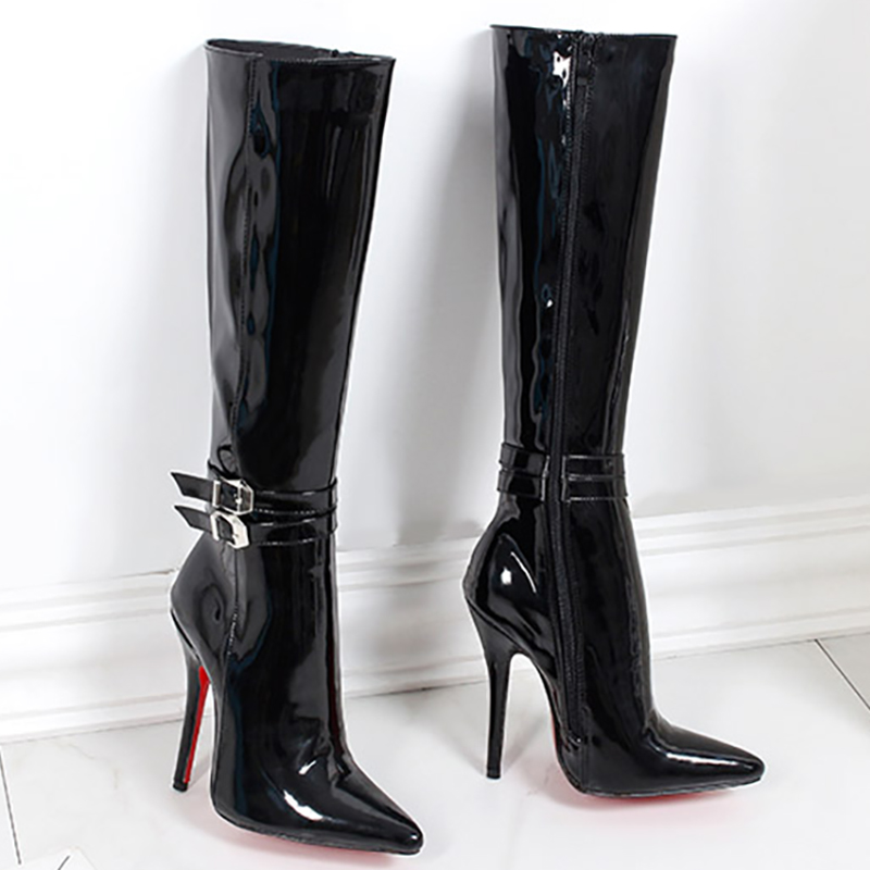 Women Shoes Boots High Heels Red Bottom Knee High Boots Patent Leather Fashion Fenty Beauty Zip