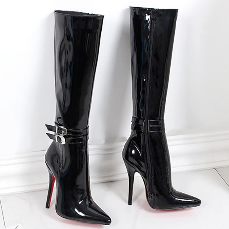 Женские ботинки на высоком каблуке с красной подошвой ботинки до середины икры из глянцевой кожи Модные Fenty Красота молния Готический женск... ...