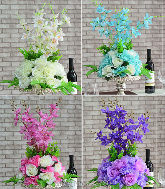 19 colors tall 50cm white pink purple blue artificial rose hydrangea 19 colors tall 50cm white pink purple blue artificial rose hydrangea flowers wedding decoration centerpiece pedestal mightylinksfo