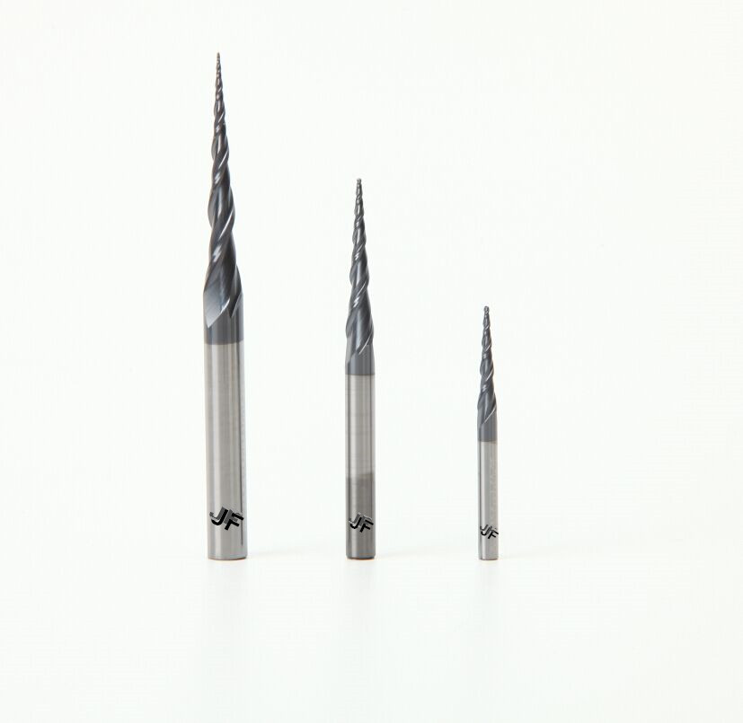 JF R0.75x20.5xD4x75x2T HRC55 TiAlN Coated Solid Carbide 2 Flute Taper Ball Nose End Mills