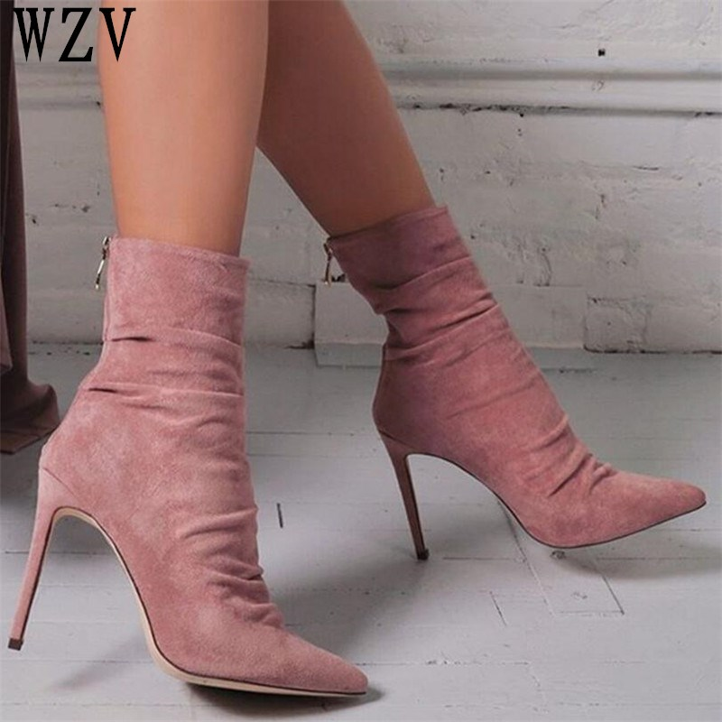 Big size 42 Spring autumn 2018 Fashion Ankle Boots Pointed toe Suede stiletto High Heels Women Sexy women boots Women Pump C126