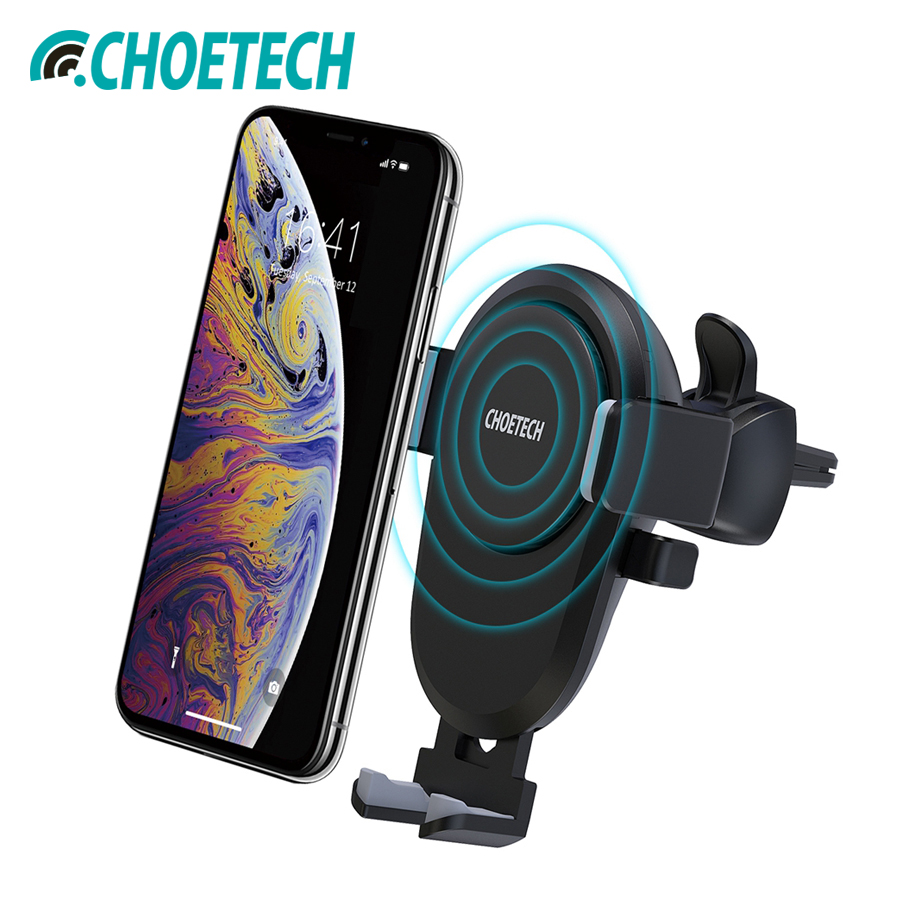 Choetech Qi Car Wireless Charger For Iphone Xs Max 10W Fast Wireless Charging Car Mount Phone Holder For Samsung Galaxy S9 S8