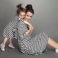 Mother Daughter Dresses Fashion Long Sleeve Striped Family Look Matching Clothes Cotton Mom And Daughter Dress