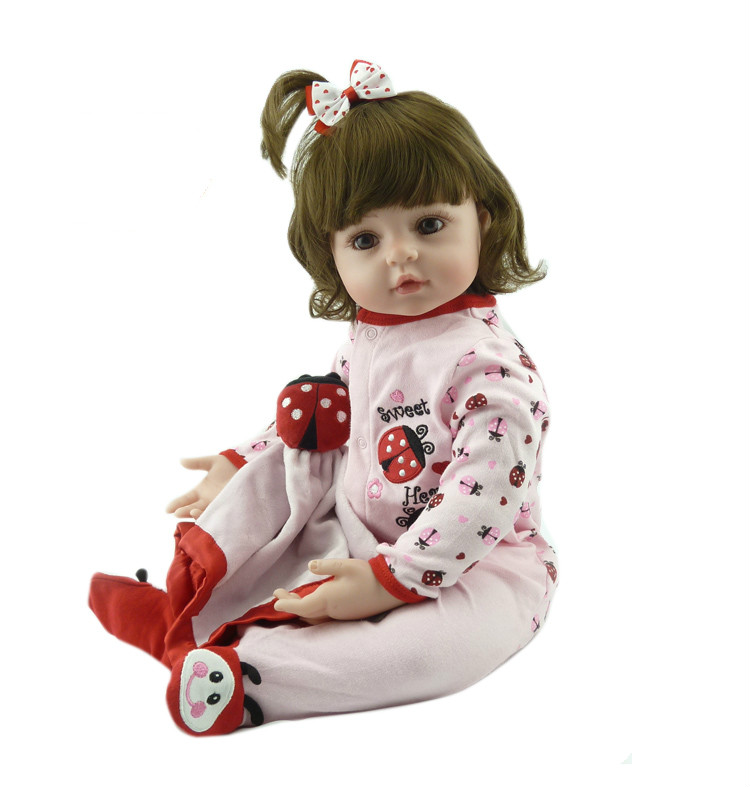 22inch Silicone Reborn Baby Dolls Best New Year Christmas Gift for Children Lifelike Simulation Baby Doll Newborn Kid Brinquedos short curl hair lifelike reborn toddler dolls with 20inch baby doll clothes hot welcome lifelike baby dolls for children as gift