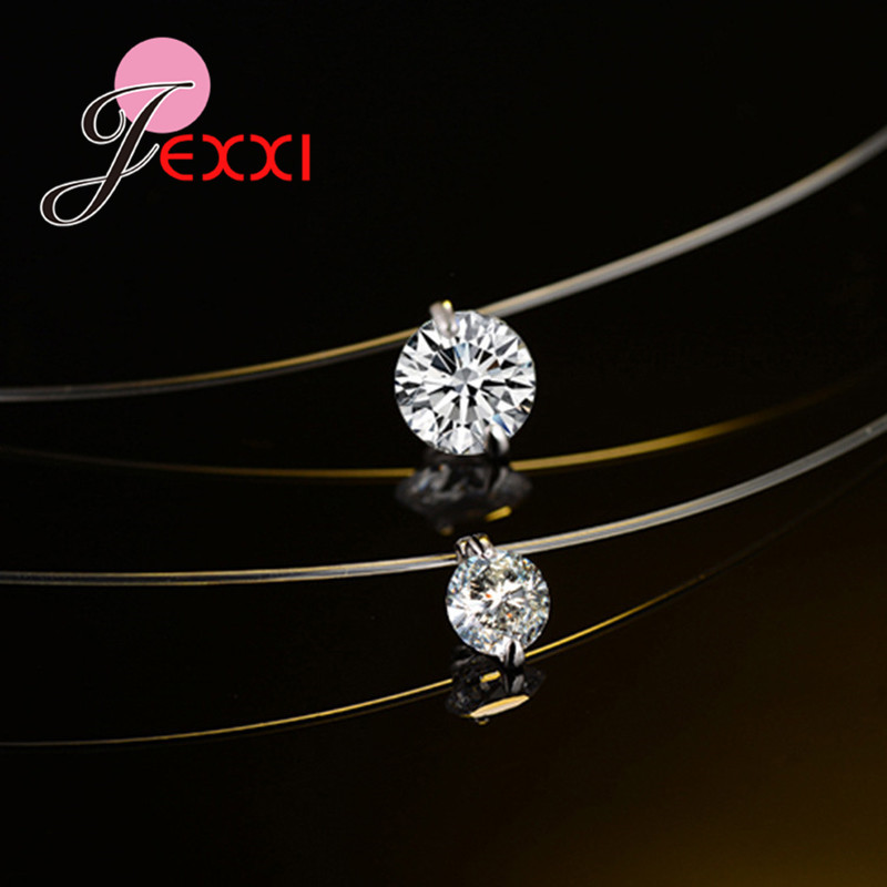 Discount Price 925 Sterling Silver Women Short Chain For Party Jewelry Clear Austrian Crystal Pendant Necklace Gift 4