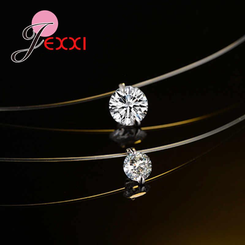 Rabat cena 925 Sterling Silver kobiety krótki łańcuszek na imprezę biżuteria wyczyść naszyjnik wisior z kryształem austriackim prezent