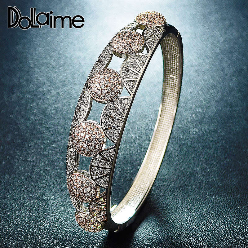 Dolaime Sopper Rose Gold Color Jewelry Women Bangle Engagement Present Summer Gorgeous Bracelet BG024