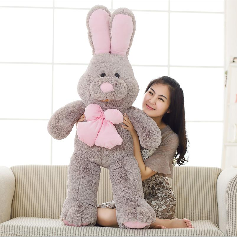 1pcs  Cute American Big Rabbit Stuffed Dolls Plush Toy America Rabbit Animal With Long Ears Toys For Children/100 children russia dolls wooden toys big size wood matriarchy puppet each with 5 different size dolls memory toy free shipping