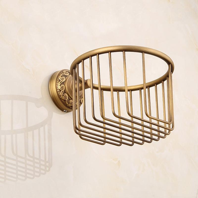 Купить с кэшбэком MADICA13.8 *13cm Wastepaper Basket Holders For Shower Room Vintage Brass Toilet Paper Holder Bolt Inserting Bathroom Shelves