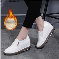 RUSHIMAN 33 40 Spring Casual Solid Flat Women Shoes superfine fiber Slip on Loafers Flat Platforms student Sneakers