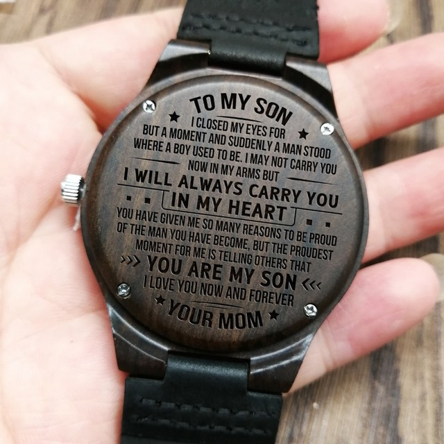 ROM MOM TO SON ENGRAVED WOODEN WATCH I LOVE YOU NOW AND FOREVER