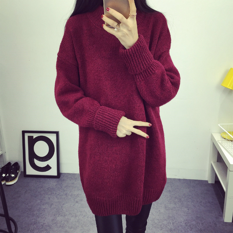Invierno moda medio cuello alto Suéteres estilo coreano casual suelta  gruesa Jerséis manga larga de punto suéter de las mujeres 62999 en  Pullovers de La ... d3520a822bf1
