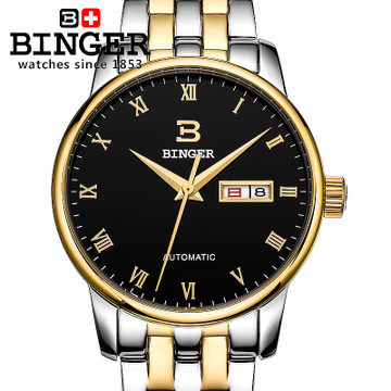 Здесь можно купить   Fashion black dial wristwatches full stainless steel Automatic watches Switzerland brand wide Sapphire window watch for man Часы