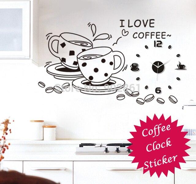 Funlife 120x60cm( 47x23.6in) diy acryl stil Kaffee und Tee wanduhr ...