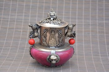 Antique Old QinDyansty silver&jade censer,Kirin & Butterfly & Lion, bring good luck, get rid of evil,Free shipping