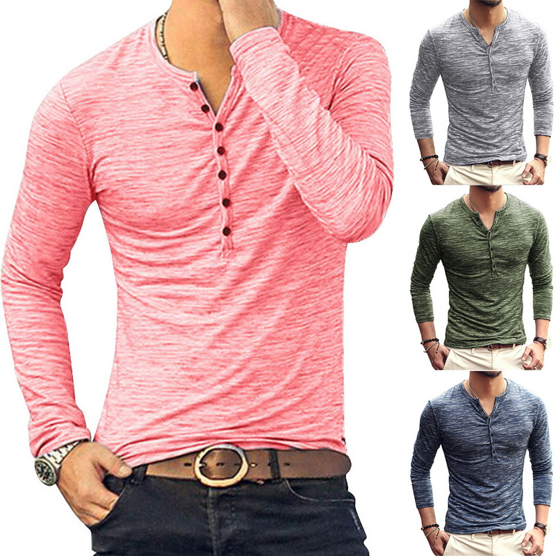 HEFLASHOR 2019 New Henley T-shirts Men Solid Long Sleeve Fashion Design Slim  Button Casual Outwear Popular T Shirt For Male
