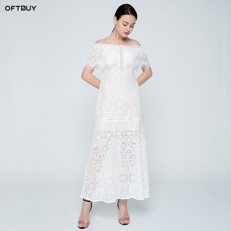 0cf709fcdb40 OFTBUY 2019 boho summer lace dress off shoulder floral embroidery white  slim waist dress women ladies