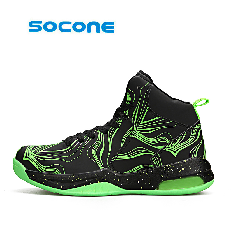 socone Lifestyle basketball shoes for lovers newest  basketball sneakers men lace up basket homme four season Fluorescent shoes